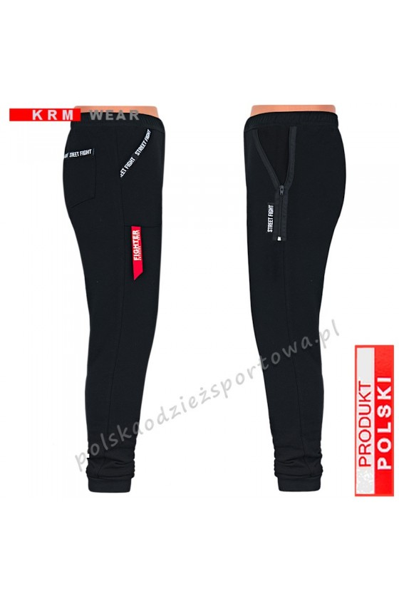 Ciepłe spodnie STREET MGG ZAMKI czarne