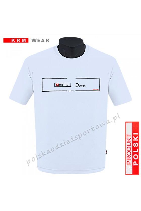 Koszulka S-6XL bawełna F MODERN biała/cz