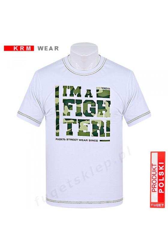 Koszulka FIGHTER moro  M biała/khaki