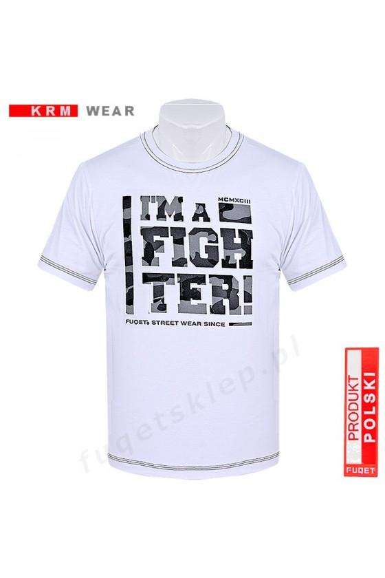 Koszulka FIGHTER moro  M biała/szara