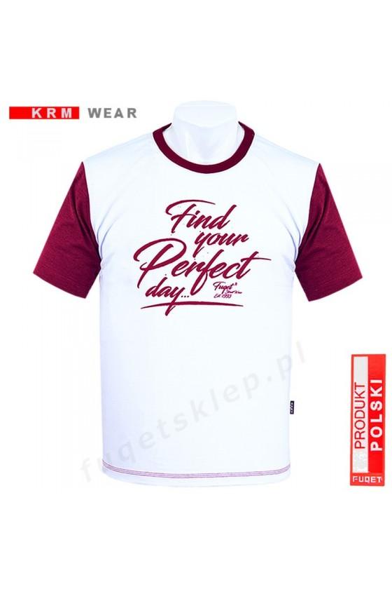Koszulka PERFECT DAY  M  biała/bordo