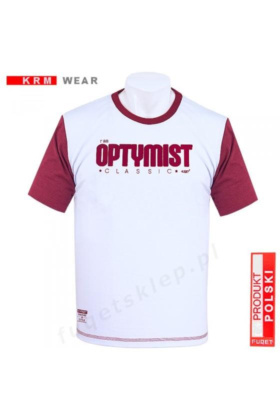 Koszulka OPTYMIST M biała/bordo