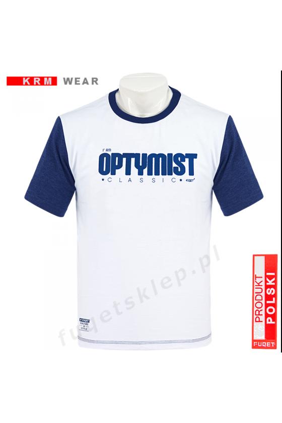 Koszulka OPTYMIST biała/jeans