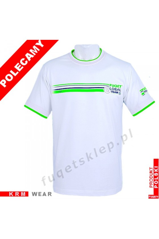 Koszulka FUQET - GLOBAL TEAM - DS biała/ziel.