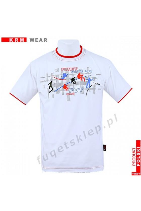 Koszulka FUQET SKATE DS biała/czerw.