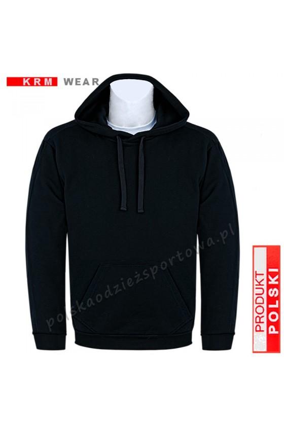 Bluza sportowa kaptur  BIG SX MD G czarna 100% bawełna